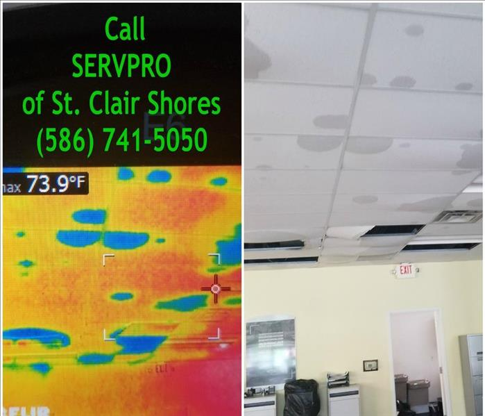 Water Damage in Business with Falling Ceiling tiles and thermal image of water damage