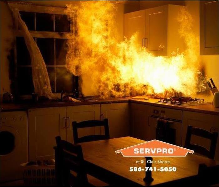 fire in a dark kitchen, wood table is in the foreground