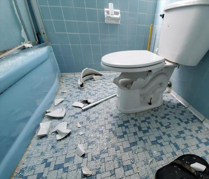 Broken toilet and shattered shower glass door